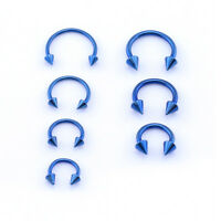 BLUE Horseshoe Bar, Lip Nose Septum Tragus Ear Ring Various Sizes WITH CONES