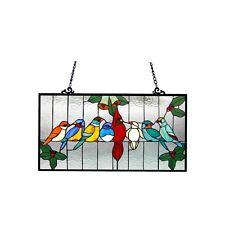 Chloe Lighting Tiffany Glass Gathering Birds Window Panel CH1P150RA25-GPN