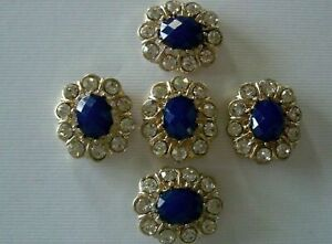 2 Hole Slider Beads Fiore Blue/Clear in Gold Made with Swarovski Elements #5