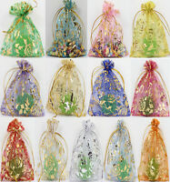 100Pcs Rose Gold Organza Gift Wedding Favour Bag Jewellery Pouch 10 Color 3 Size