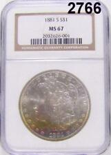 1881 S NGC CERTIFIED MS 67 MORGAN SILVER DOLLAR RAINBOW TONED GOLDEN! #2766