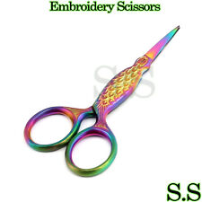 "Multi Titanium Color Rainbow Sewing Craft Embroidery Scissors 3.5"" Fish Style"