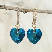 18K Gold-plated Fashion Handmade Austrian crystal Gemstone Drop Dangle Earrings