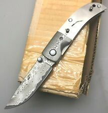 Custom Handmade Damascus steel pocket Knife without scale