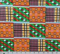 African KENTE Orange Green Blue Print Hitarget 100% Cotton Blocks By The Yard