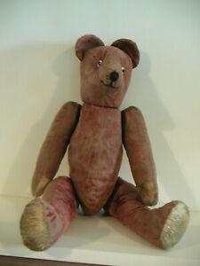 ours ancien de 50cm en velours ras rose