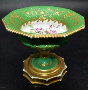 Rare Antique 19thC French Old Paris Porcelain Decagonal Sweetmeat - Handpainted