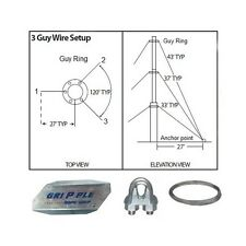 """30' ft 3 Way Down Guy Wire Kit w/ 30"""" Anchors for Telescoping Antenna Masts"""