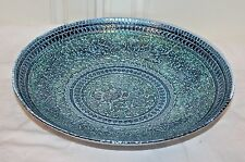 "Multi-Color 11"" Art Glass Plate ~ Made In Turkey, Blue/Aqua/"