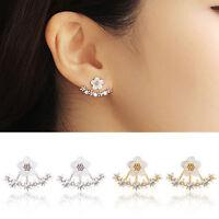 Elegant Vintage Women Gold Silver Crystal Flower Ear Stud Drop Earrings Jewelry