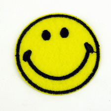 Smiley face Smile Sew Iron on Patch Bags Jeans Clothes Plain yellow