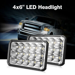 Pair 4x6'' LED Headlights Hi/Low Sealed Beam Square H4 Work Driving Fog Lights