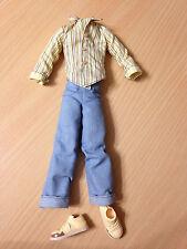 Barbie My Scene Ken Hudson Doll Outfit Cloth Striped Shirt Denim Jean Pant Shoes