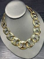 """Vintage 16"""" Chunky Flat Marine Link Gold- Silver  1 Inch Wide Chain Necklace"""