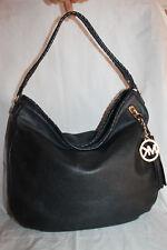 Michael Kors Large Bennet Shoulder Hobo Tassel Bag Black Braided Leather