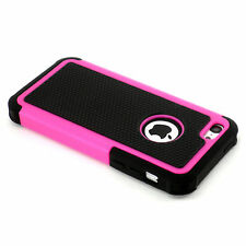New Hot Pink And Black Heavy Duty Hard Case + Screen Guard For iPhone 5C