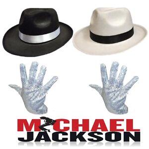 MICHAEL JACKSON SMOOTH CRIMINAL HAT & SEQUIN GLOVE POP MUSIC FANCY DRESS
