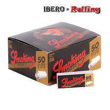 SMOKING TIPS DELUXE. Caja de 50 libritos de filtros de cartón. Filtros tips.