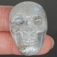 1.37 Inch (35mm) Carved Natural Labradorite Stone Skull Cab Cabochon