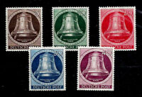 GERMANY BERLIN 1951 - FREEDOM BELLS, MNH, VERY FINE STAMPS, Mi. Nr. 75-79