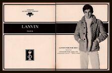 1967 Lanvin Men's Astrakan Fur Fashion Jacket Mod Print Ad