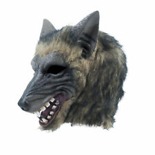 Mens Wolf Full Head Mask Brindle Effect Halloween Adult Fancy Dress Costume