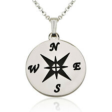Compass Necklace Circle Black Engraving - Sterling Silver Personalized Pendant