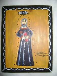 SAN CALLETANO by NICHOLAS HERRERA 1991 HAND PAINTED SANTERO RETABLO on WOOD