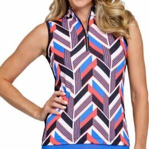 NWT Ladies TAIL Neon Coral Blue Black INTERSTATE Sleeveless Golf Shirt  S XL XXL