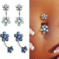 New Crystal Plum Blossom Belly Button Ring Navel Barbell Body Piercing Jewelry