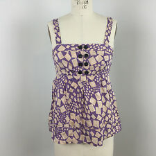 Marc by Marc Jacobs Womens Top Babydoll Pink Purple Geometric Silk Sz 6 P05