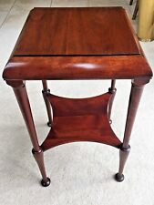 Antique Mahogany End Lamp Table W/ Square Top Elegantly Shaped Lower Shelf Legs