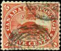 Canada #15 used VF 1859 First Cents 5c vermilion Beaver CV$50.00