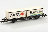 Minitrix N 15210 Vagón Contenedor Agfa & Bayer Db 042 0 521-5 Suciedad/Arañazo/