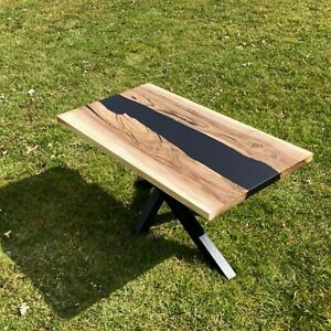 24''x36'' Epoxy Table Natural Wooden Table, Black Resin River Dining Table Top