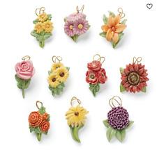Lenox Fall Flowers Miniature Tree Ornaments Set of 10 Autumn Thanksgiving New