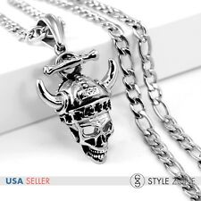 Men's Stainless Steel Kito Demon Skull Pendant Link Chain Necklace Punk Cool P19