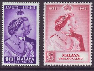 Malaya Trengganu 1948 SC 47-48 MH Set Silver Wedding