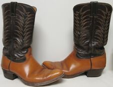 JUSTIN VNTG BLACK & CARAMEL BROWN W ORANGE & BEIGE STITCHING WESTERN BOOTS 10 D