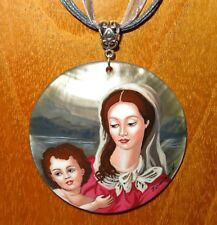 Agnolo Bronzino Pendant Madonna and Child Russian Hand Painted Shell signed GIFT