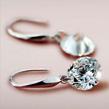 HOT Earrings with 8mm CZ Crystal Drops Fish Hook Leverback Bridal Jewelry Gifts