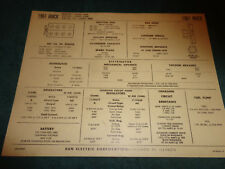 1961 BUICK INVICTA / ELECTRA 225 401 V-8 ENGINE SUN TUNE-UP CHART / USEFUL ITEM!