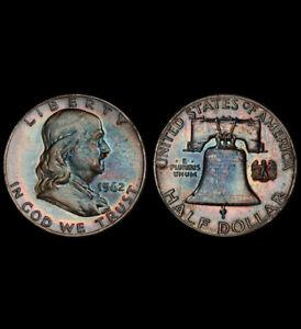 PR64 1962 50C Franklin Silver Half Dollar, PCGS Secure- Pretty Rainbow Toned