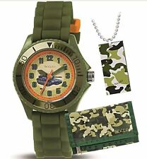 Tikkers Army Khaki Green Watch/ Kids xmas Gift Set Wallet & Dog Tags/ Tank/Camo