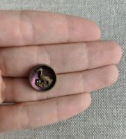Antique Victorian Metal Picture Button Flamingo Bird