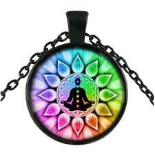 Rainbow 7 Chakra Photo black Glass Cabochon Pendant Chain Necklace Jewelry DIY