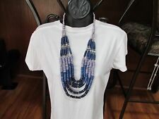 NEW Chico's Multi Strand Blue, Purple & Silver Tone Discs Beads Necklace