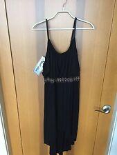 NWT! Very Cute Black Stillettos Dress -Size L - Adjustable Straps, Hi Low Bottom