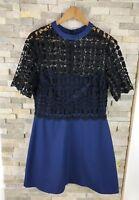 Asos Ladies Size 14 Floral Black Blue Mesh Lace Dress