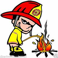 Fireman Pee On Fire Lewd Funny Offensive Decal Sticker 4 Inch Arrogant CFD